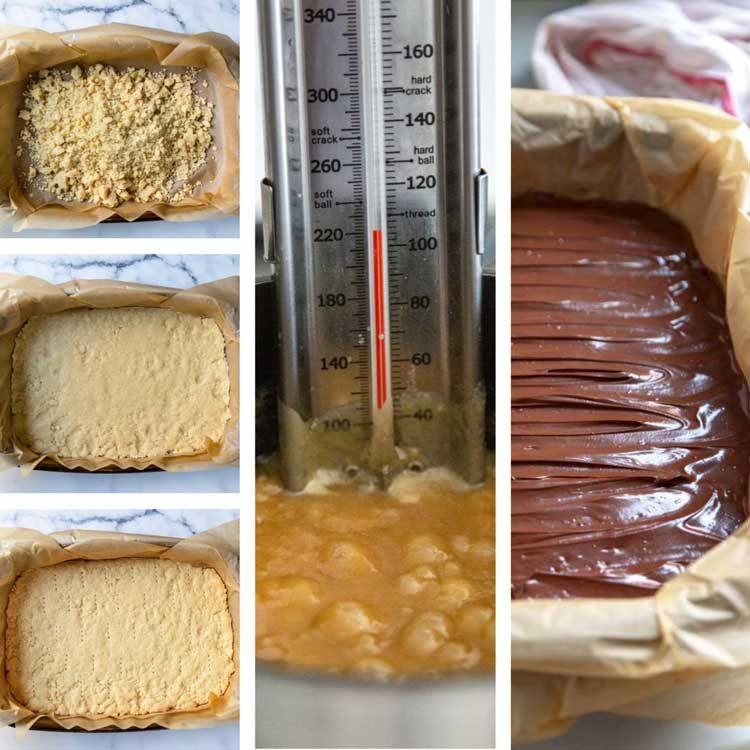 prep shots of Millionaire Shortbread Bars