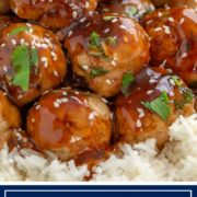 These easy Teriyaki Turkey Meatballs use seasoned ground turkey, get added crunch from diced water chestnuts and are coated with homemade teriyaki sauce. #meatball #turkey #teriyaki