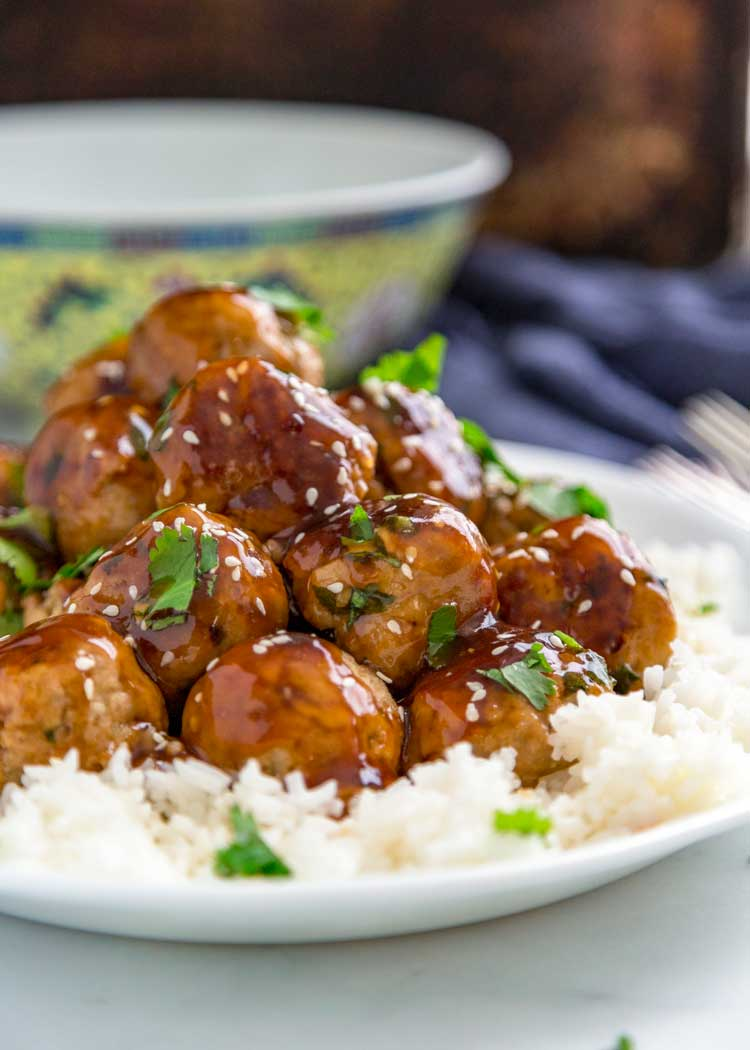 plate of Teriyaki Turkey Meatballs on steamed rice