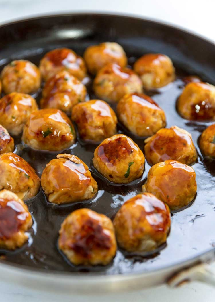 skillet of teriyaki sauced turkey meatballs