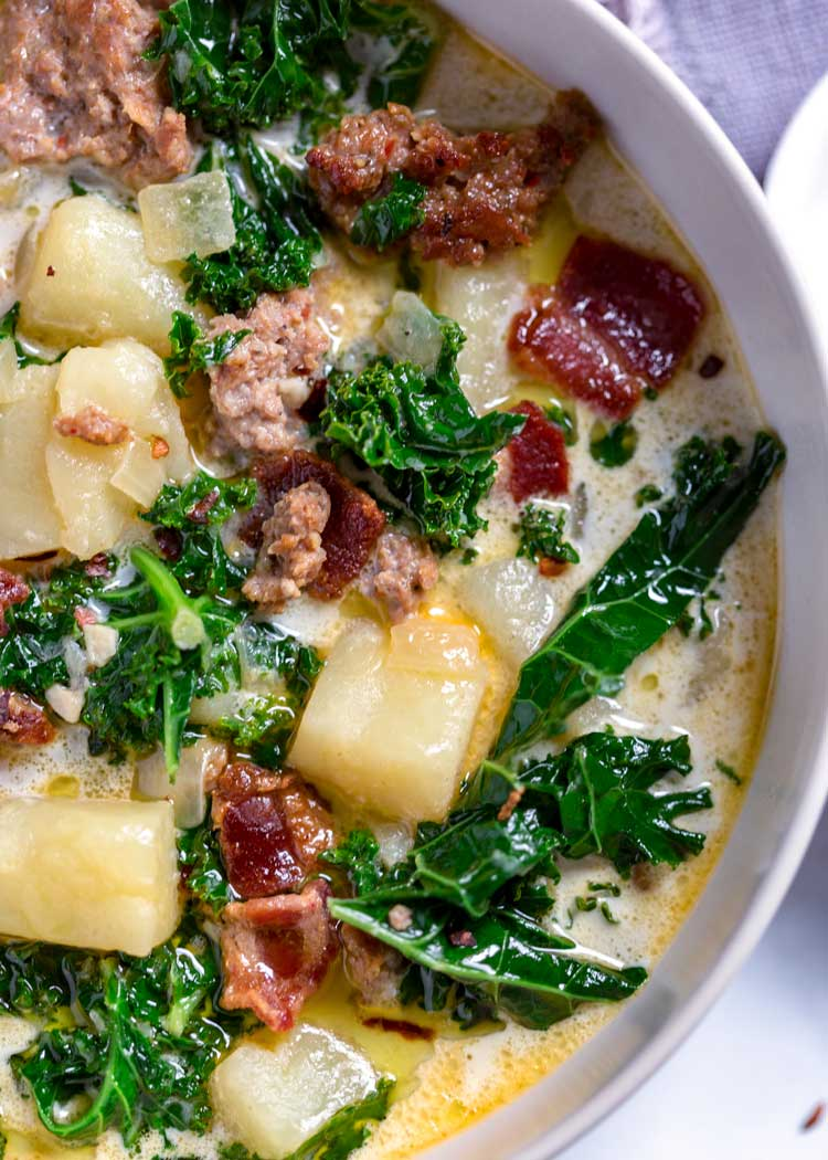 close up of Zuppa Toscana (Olive Garden Copycat)