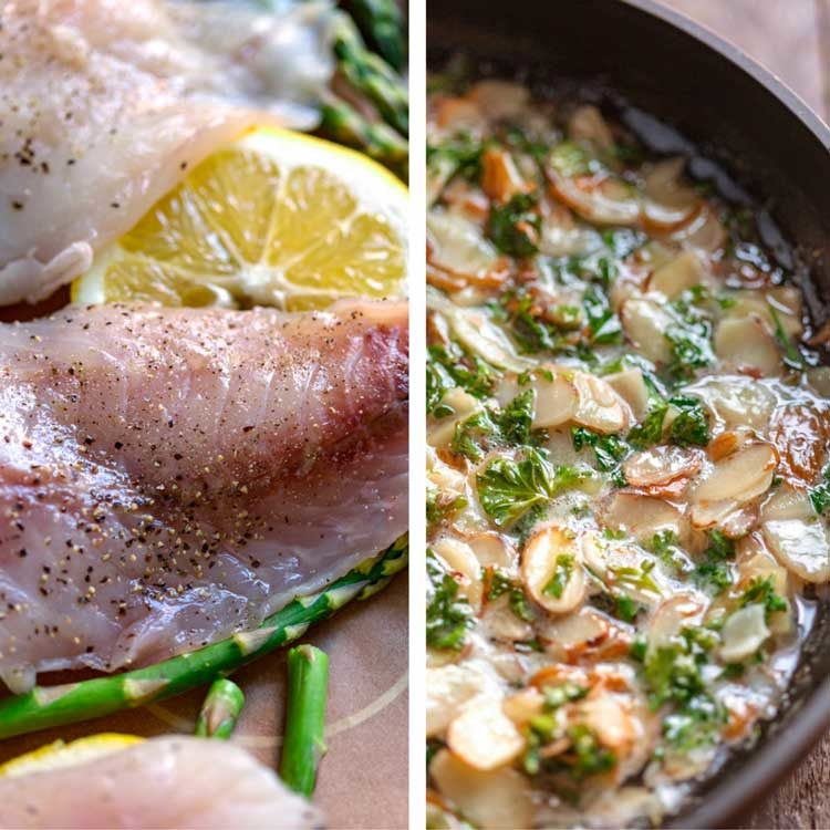 prep shots of Baked Rockfish Almondine