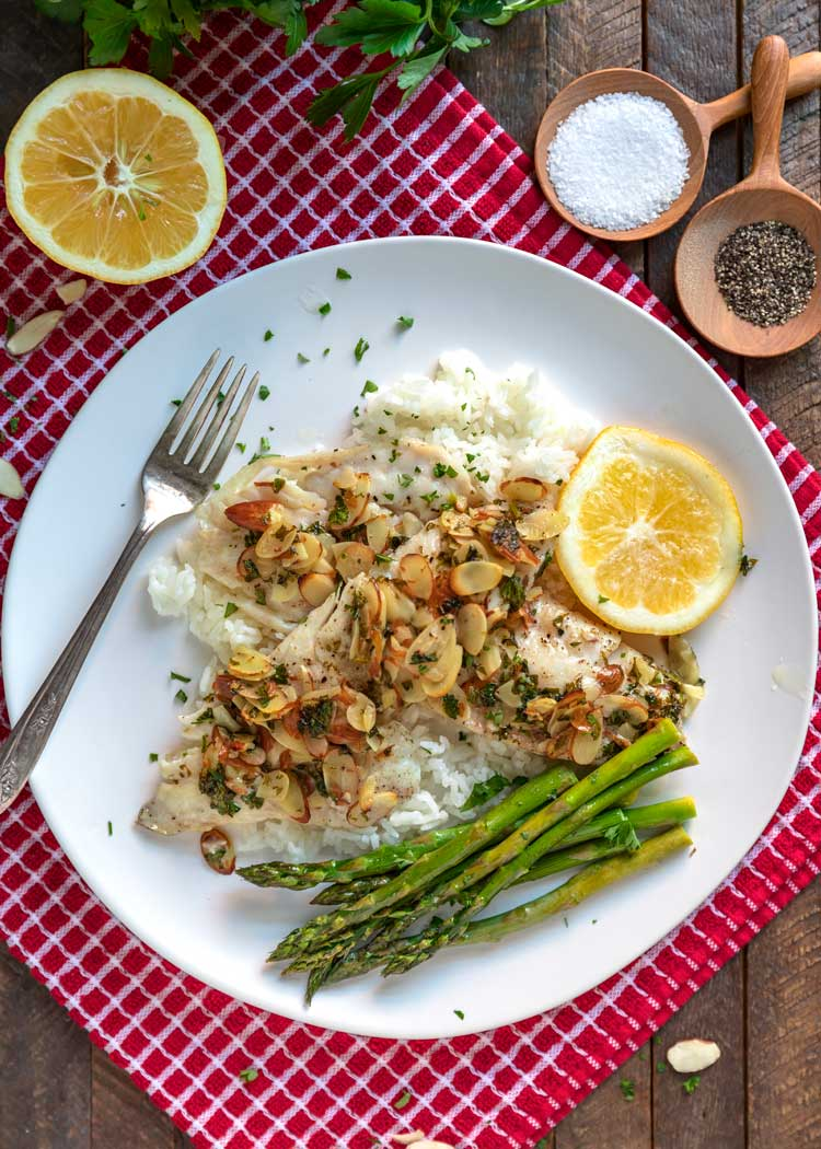 overhead photo of Baked Rockfish Almondine