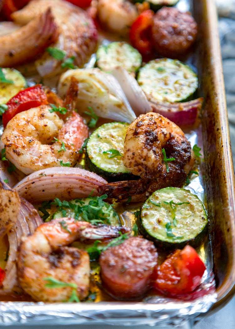 sheet pan of Cajun Shrimp and Sausage