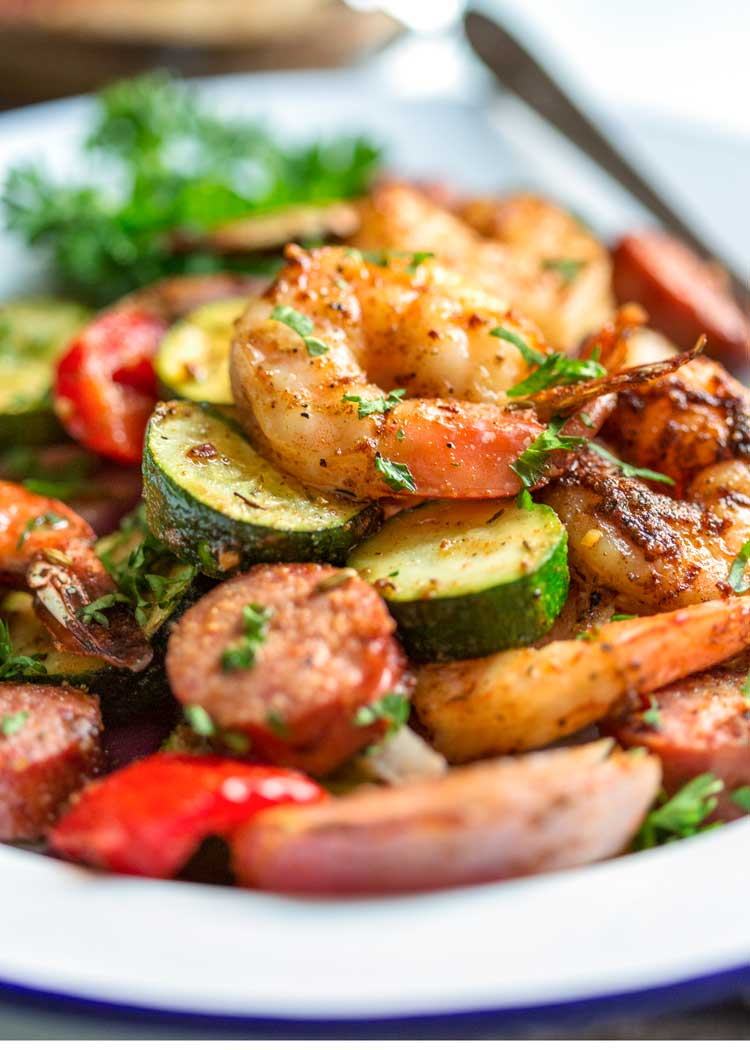 plate of Cajun Shrimp and Sausage in a close up image