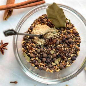 overhead image: jar of pickling spice