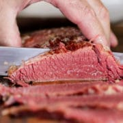 slicing Homemade Corned Beef