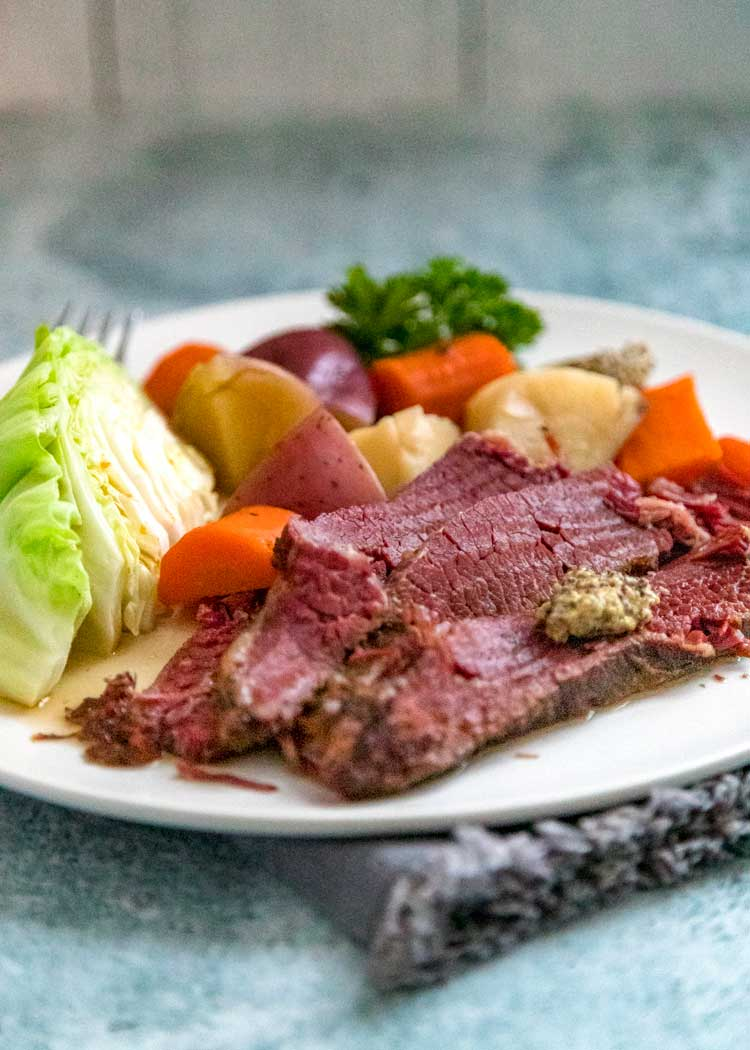 plate of corned beef with vegetables