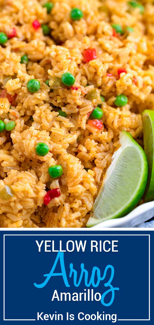 My Yellow Rice (Arroz Amarillo) uses a mix of vegetables (sofrito), seasonings like sazon, and long grain white rice. Perfect wirth roasted pork or chicken. #rice #puertorican #cuban