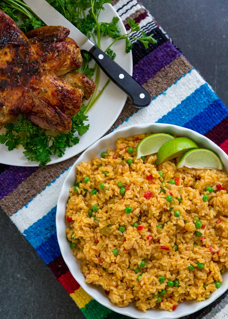 Yellow Rice (Arroz Amarillo) with roasted chicken