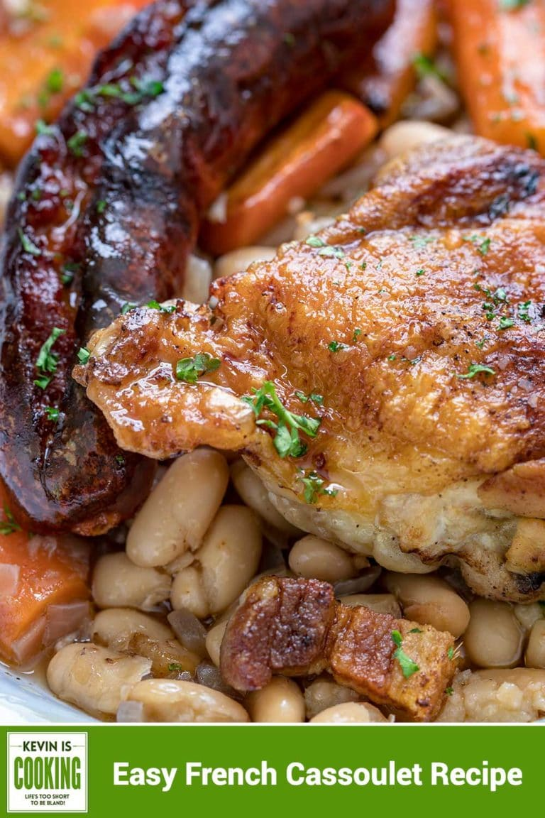 close up of Cassoulet Recipe with sausage, chicken and beans