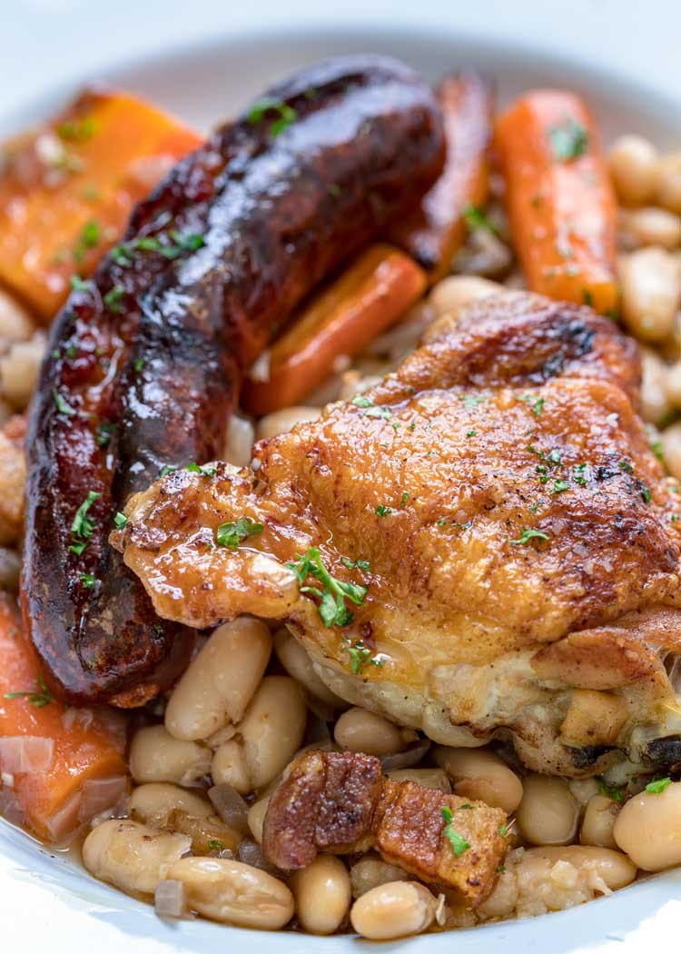 roasted sausage and chicken with white beans