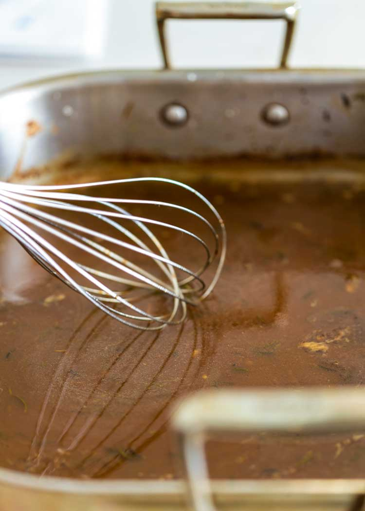 whisk in a roasting pan of gravy