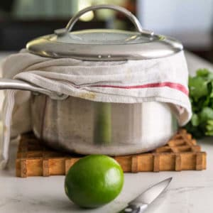 steamed cilantro lime rice pot with towel