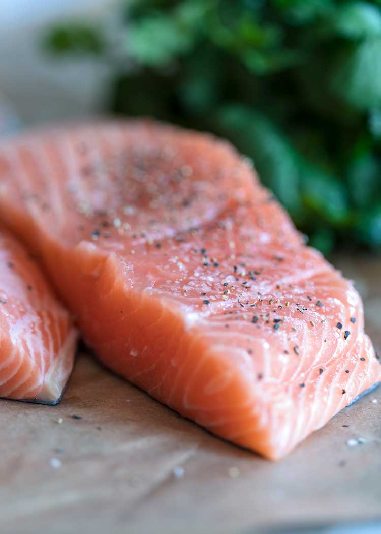 salmon filet with salt and pepper