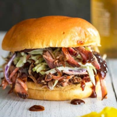 close up of a Classic Pulled Pork Sandwich