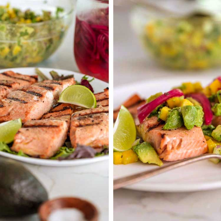 grilled salmon filets with lime and avocado salsa