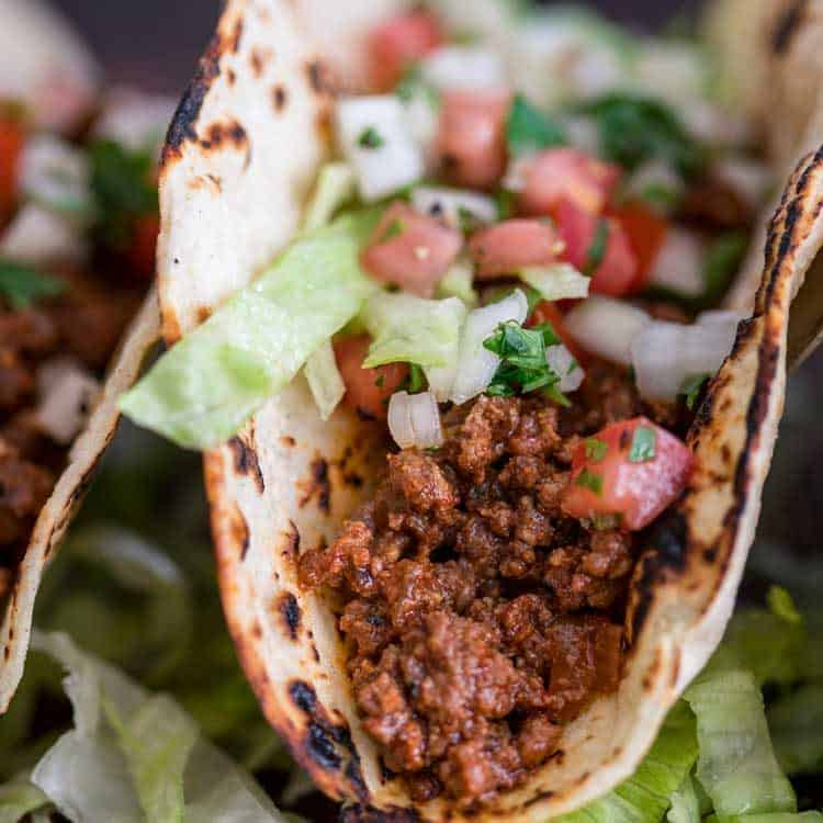 close up of ground beef taco