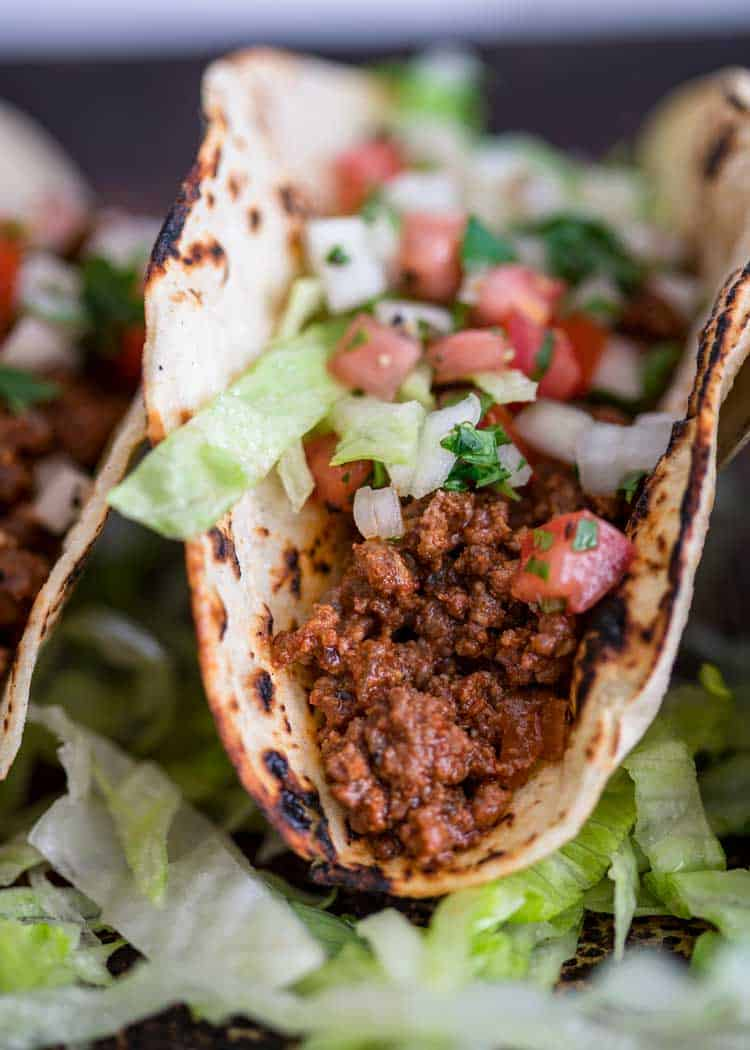 close up of Easy Ground Beef Tacos