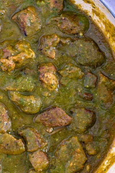 overhead shot of Pork Chile Verde in pot