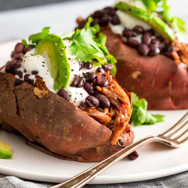 Pulled Pork Stuffed Sweet Potatoes Kevin Is Cooking