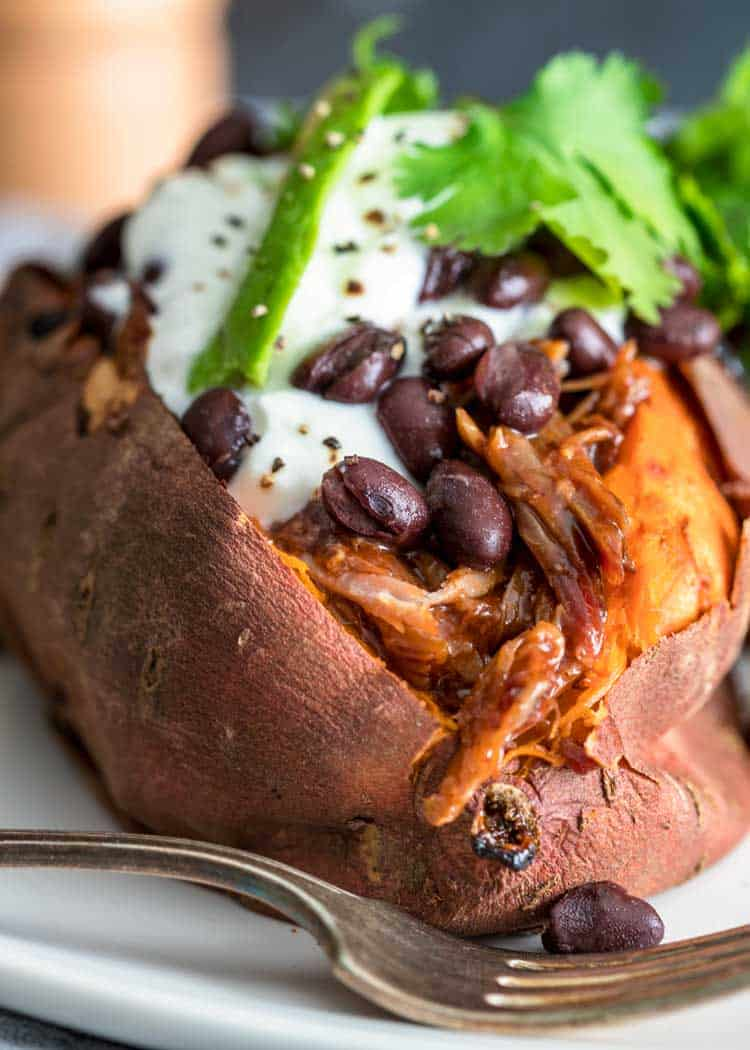 close up of a Pulled Pork Stuffed Sweet Potato
