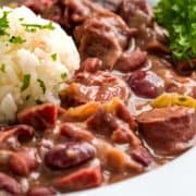 Southern Red Beans and Rice in white bowl