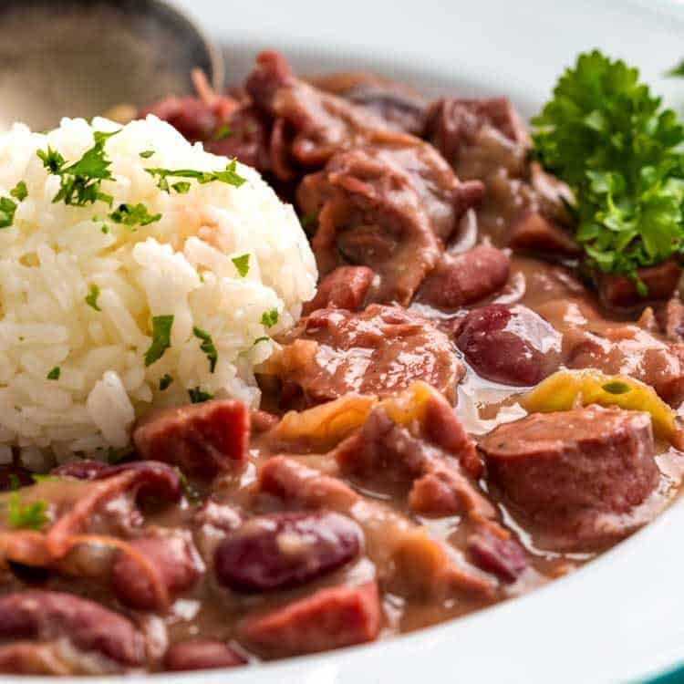 close up of southern Red Beans and Rice