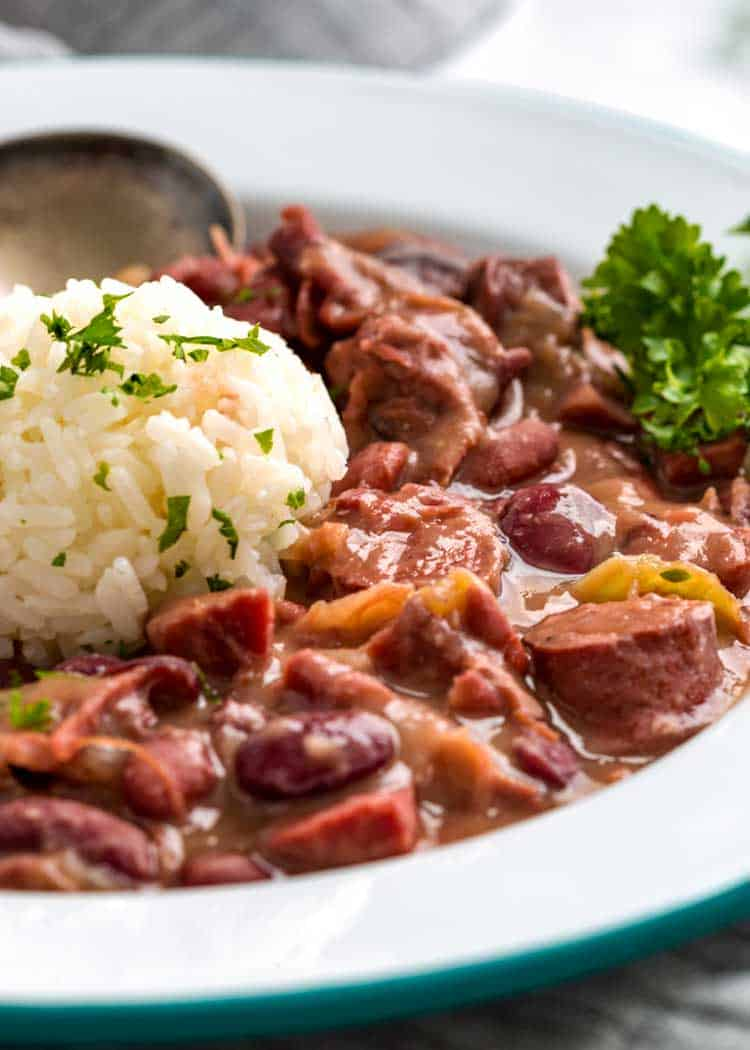 close up of Southern Red Beans and Rice in white bowl