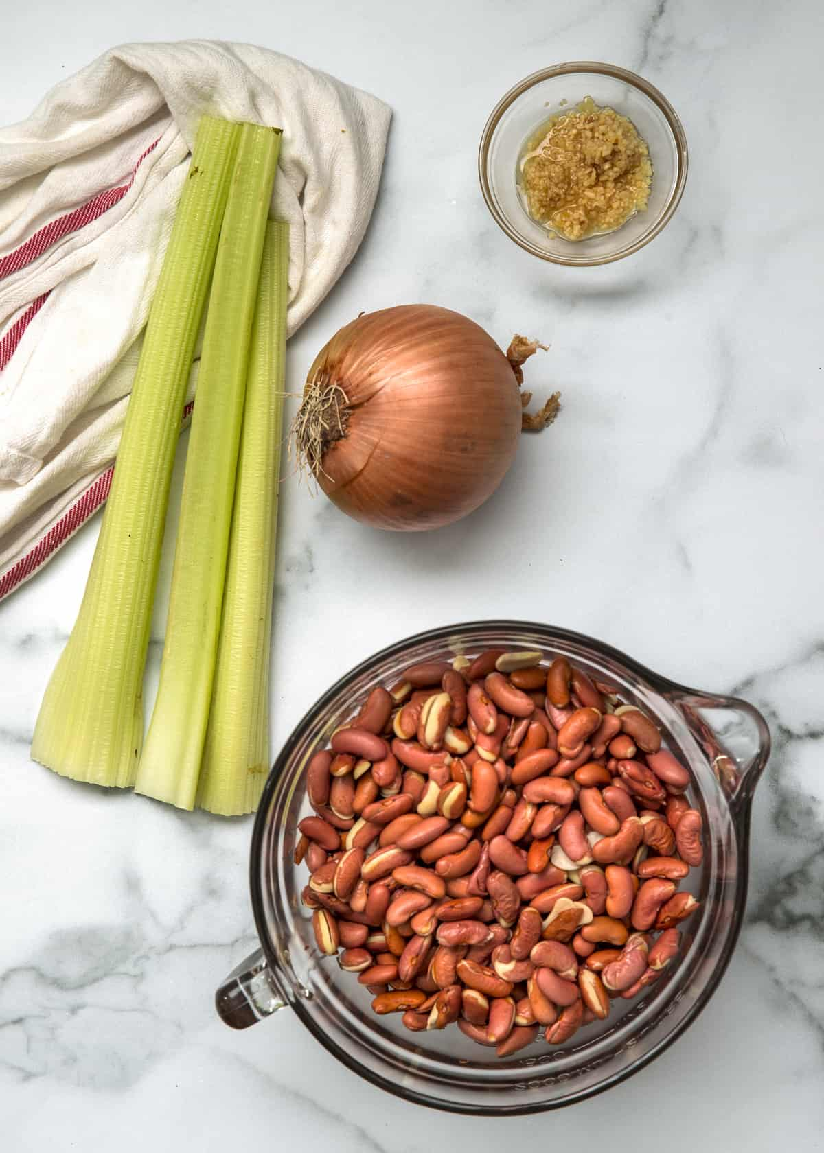 ingredient prep shot for Southern Red Beans and Rice