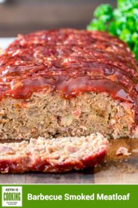 sliced BBQ Smoked Meatloaf on curtting board
