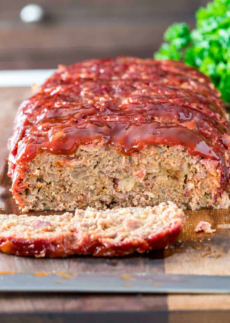 close up of sliced BBQ Smoked Meatloaf