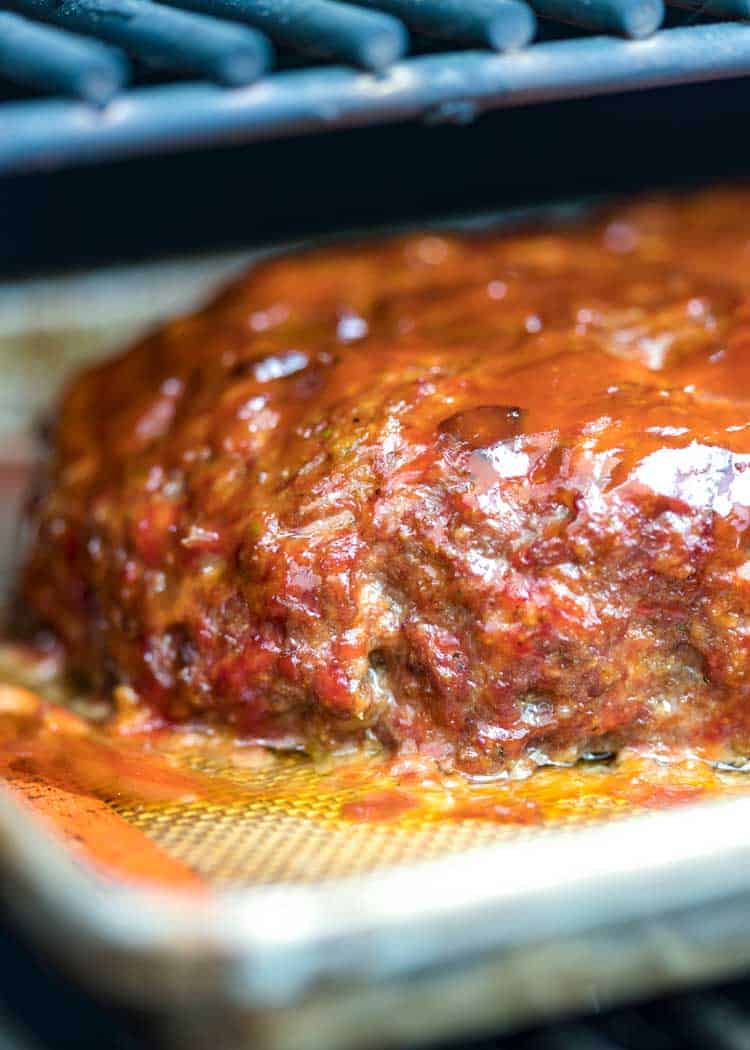 BBQ Smoked Meatloaf on BBQ grill