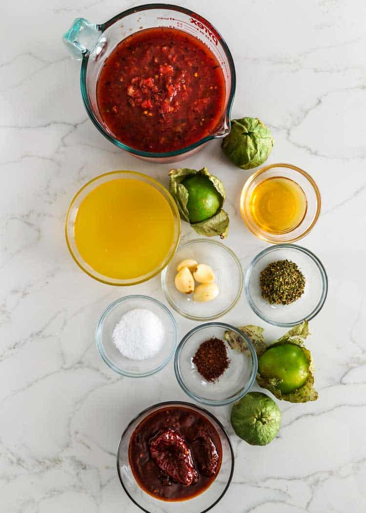 ingredients for Chicken Tinga sauce