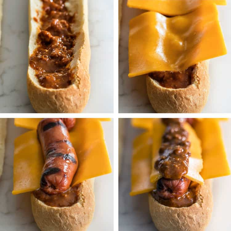 step by step photo of process to make Chili Cheese Dog Stuffed Bread