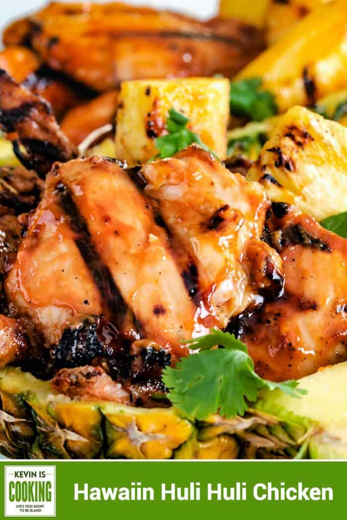 This amazing Hawaiian Huli Huli Chicken has the most lip smacking good marinade and gets smoked on the grill over mesquite to a sticky sweet goodness. This is perfect for any cook out, potluck or weeknight dinner.