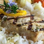 close up of Lemon Rosemary Grilled Swordfish
