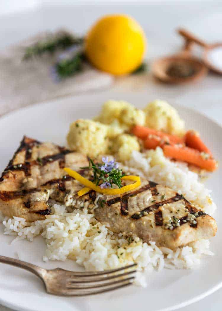 Lemon Rosemary Grilled Swordfish on white rice