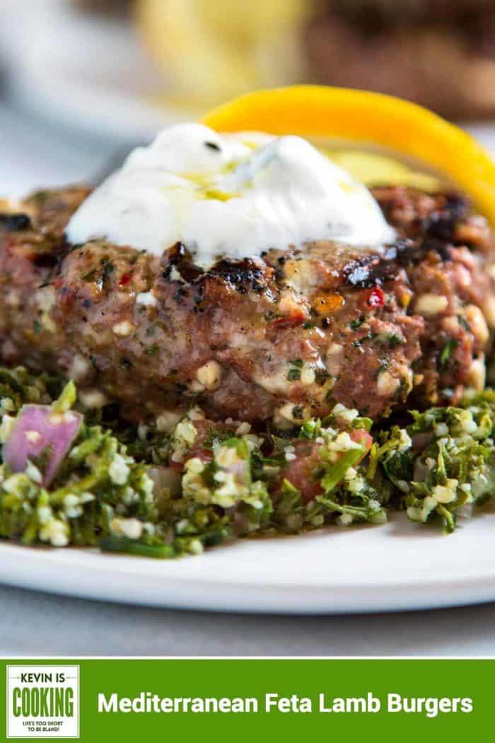 close up of a Mediterranean Feta Lamb Burgers