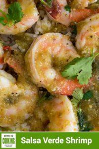close up of Salsa Verde Shrimp with cilantro leaf