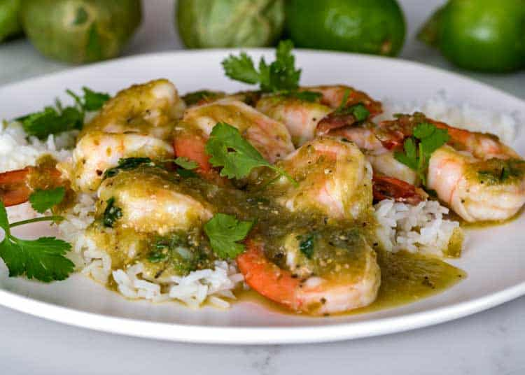 Salsa Verde Shrimp on plate with rice