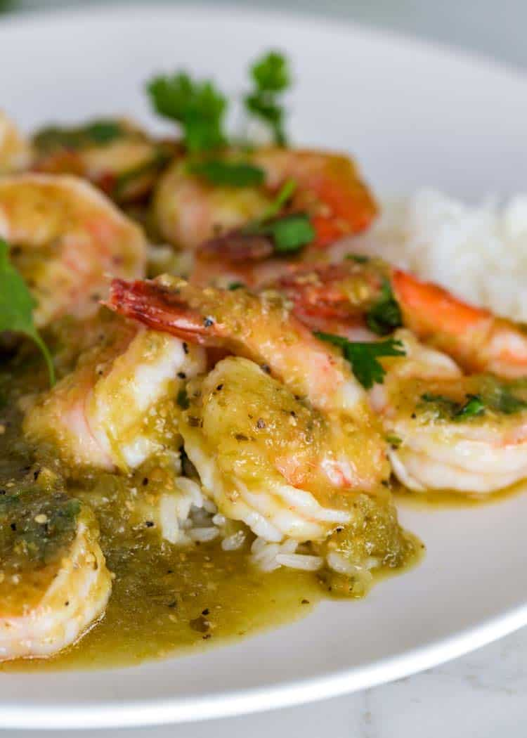 close up of Salsa Verde Shrimp
