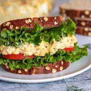 Classic Egg Salad sandwich close up