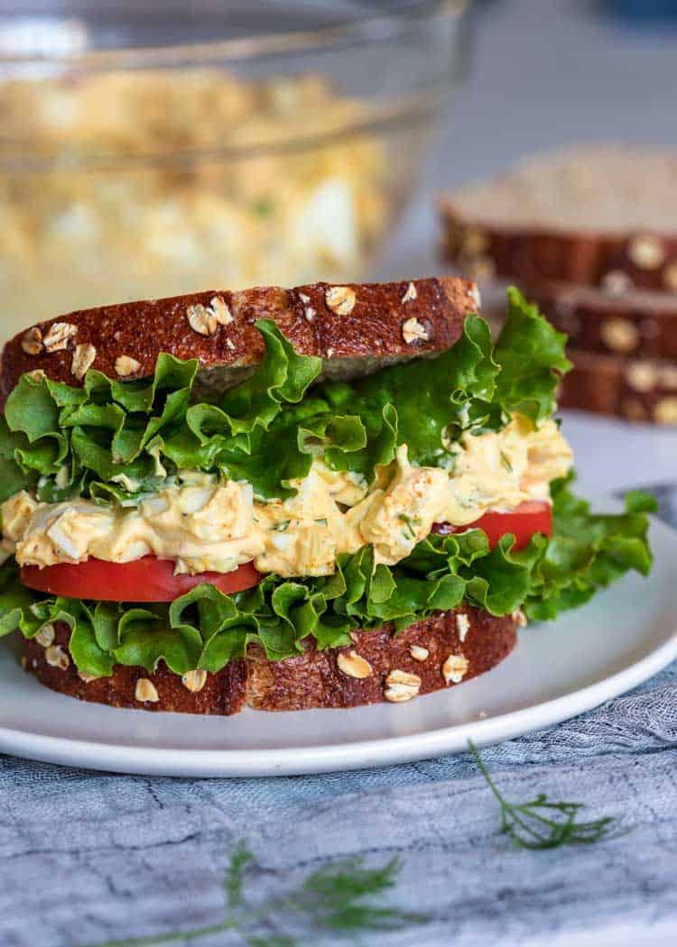 close up of a egg salad sandwich