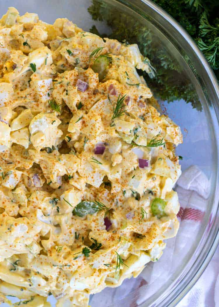 overhead photo of mixed Classic Egg Salad