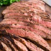 close up of sliced Grilled Flank Steak