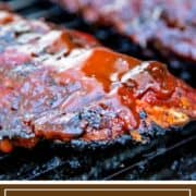 BBQ sauced ribs on grill