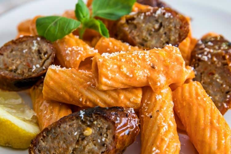 close up of plate of Rigatoni with Grilled Sausage