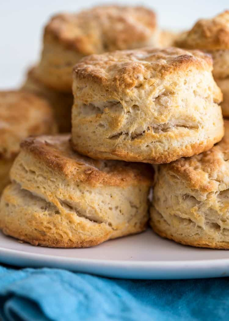 close up of stacked prep photos how to make Southern Buttermilk Biscuits