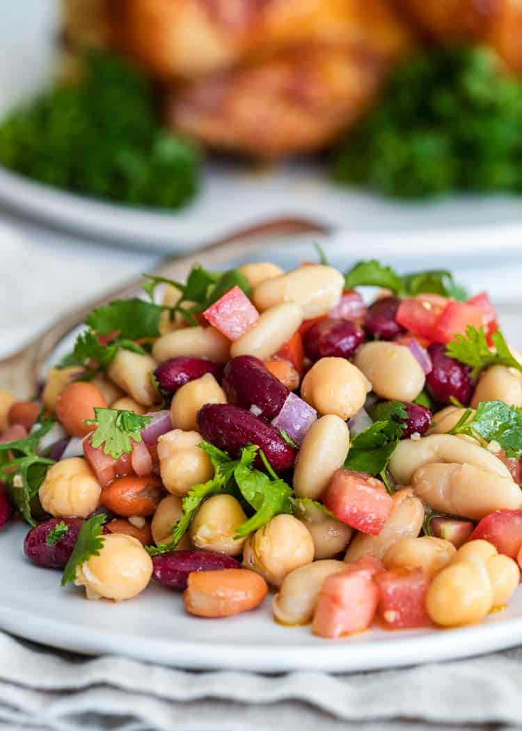 mixed beans on white plate